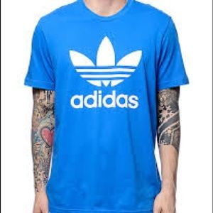 BLUE WITH WHITE TREFOIL LOGO ADIDAS T-SHIRT